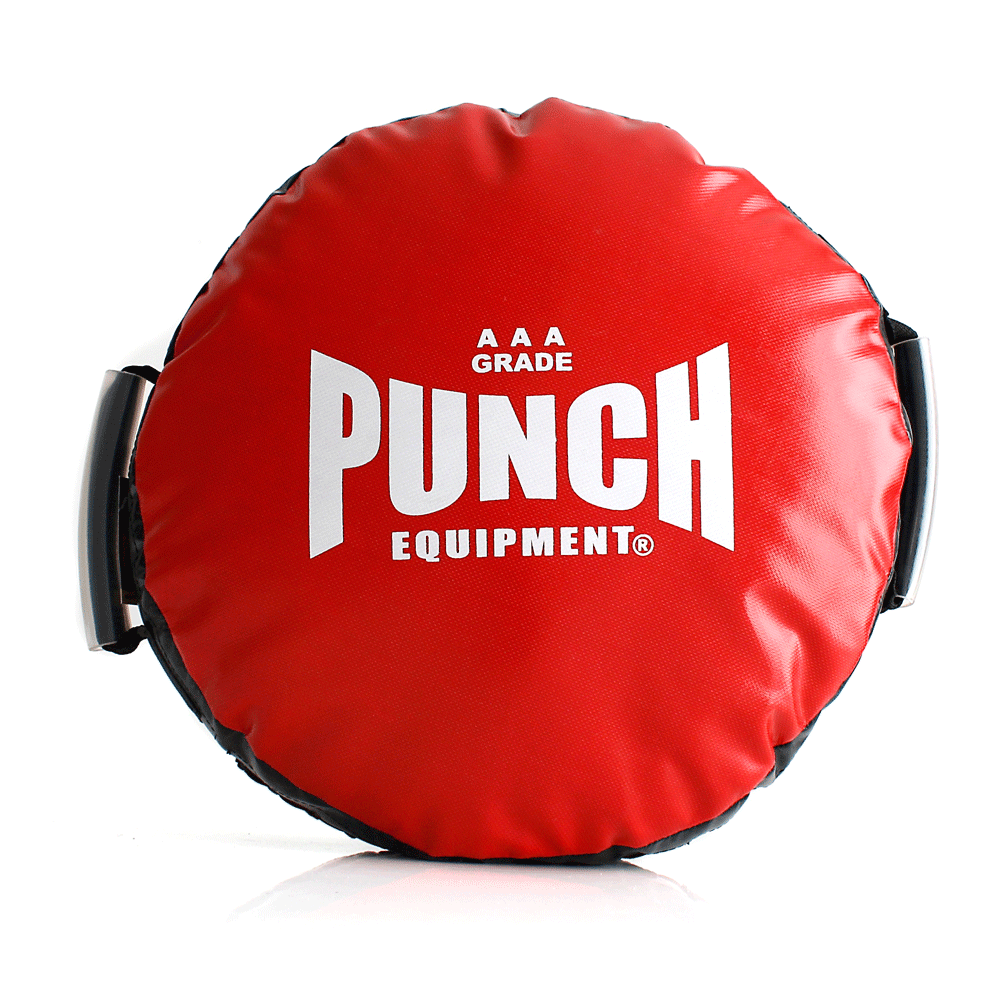 Deluxe Red Punch Round Boxing Shield 3.5kg Custom Handles AAA Rated
