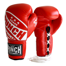 Red Lace Ups Boxing Gloves