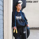 Female wearing the Punch sauna suit