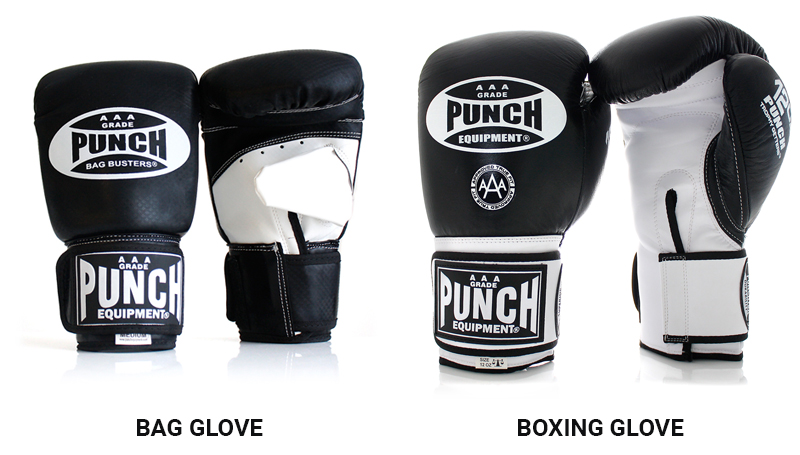 What is the difference between bag gloves and boxing gloves?