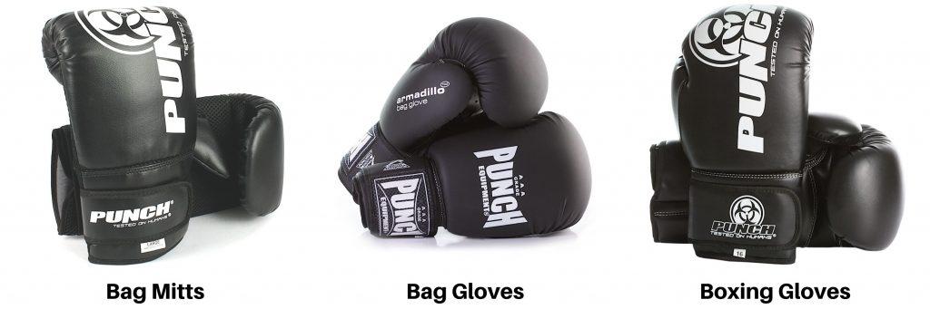 bag mitt vs bag glove vs boxing glove