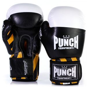 Front and back of the Black Armadillo Boxing Gloves