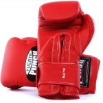 Palm side of the matte red Fuerte Elite Boxing Gloves
