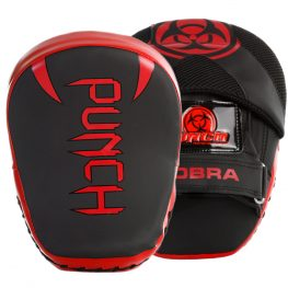 Front and back profile of the Urban Cobra Boxing Focus Pads in red and black