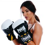Female model with Armadillo Boxing Gloves - Black