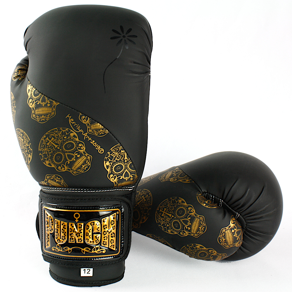 Gold Skulls Boxing Gloves 1