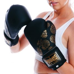 Womens Boxing Gloves – Skull Art – Black