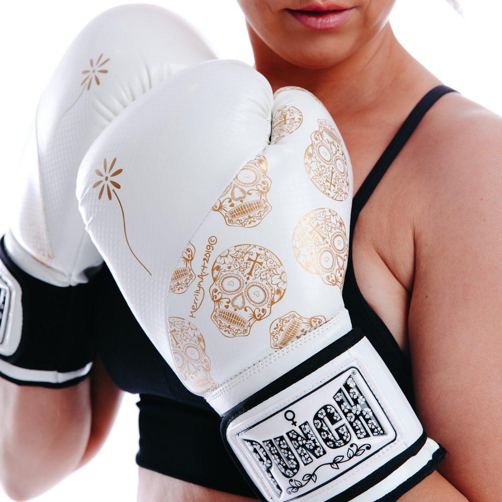 Lifestyle Skull Women Gloves White Gold