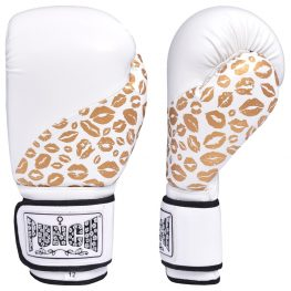 Womens Boxing Gloves – Gold Lip Art – White