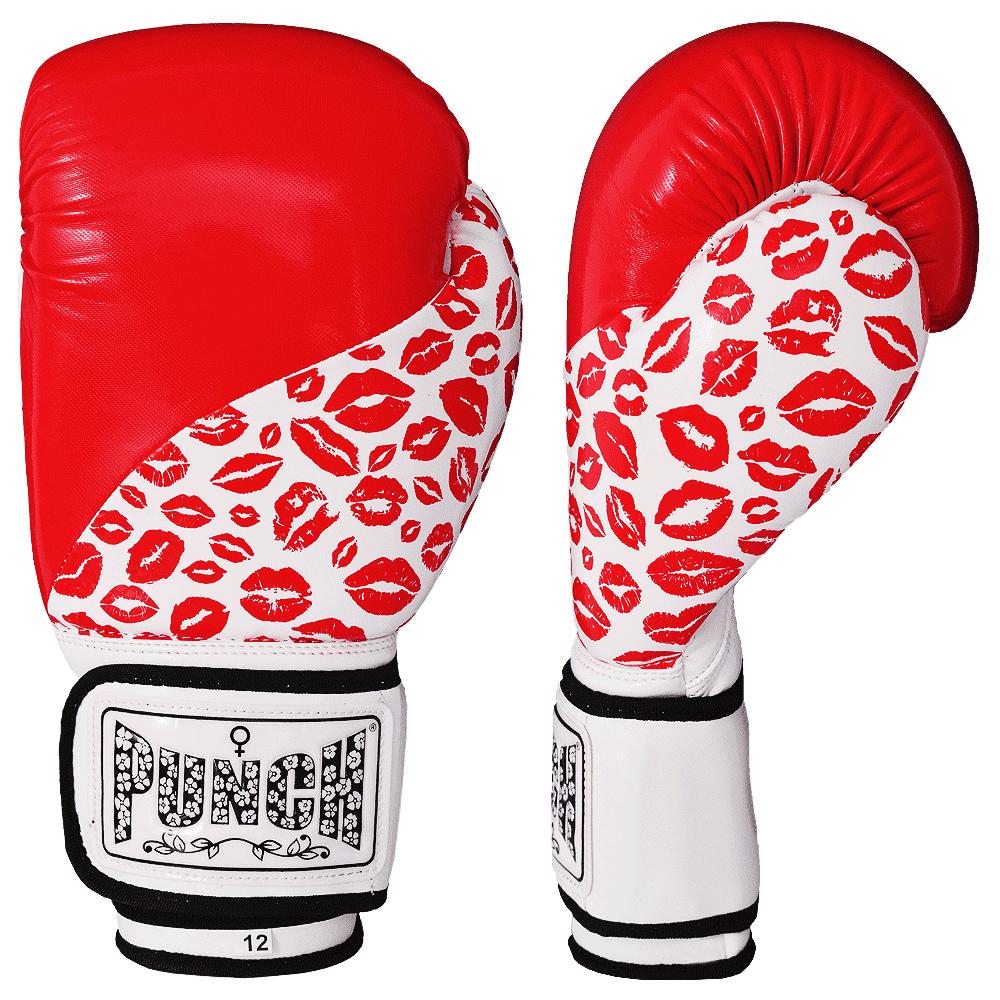 Womens Boxing Gloves Lip Art Red