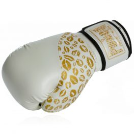 Womens Boxing Gloves White Gold Lips 1 2020