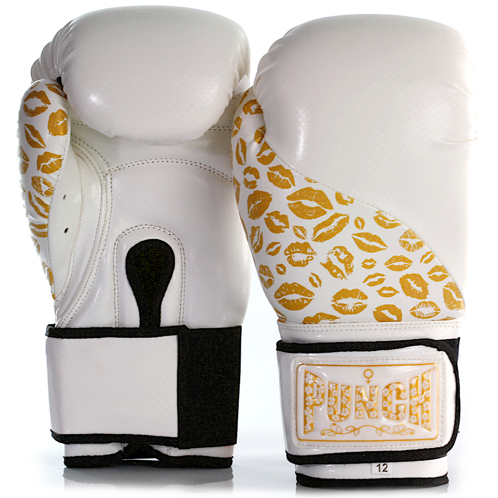 Womens Boxing Gloves White Gold Lips 1 2021