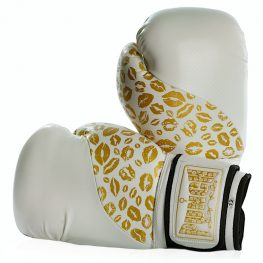 Womens Boxing Gloves White Gold Lips 2 2020