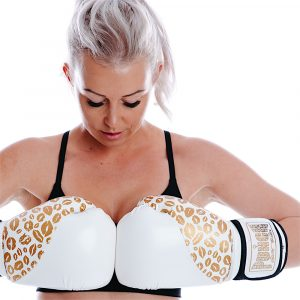 Womens Boxing Gloves White Gold Lips 2