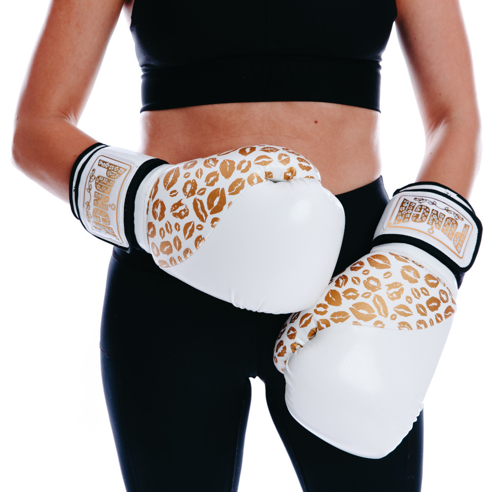 Womens Boxing Gloves White Gold Lips 3