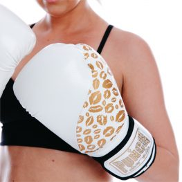 Womens Boxing Gloves White Gold Lips