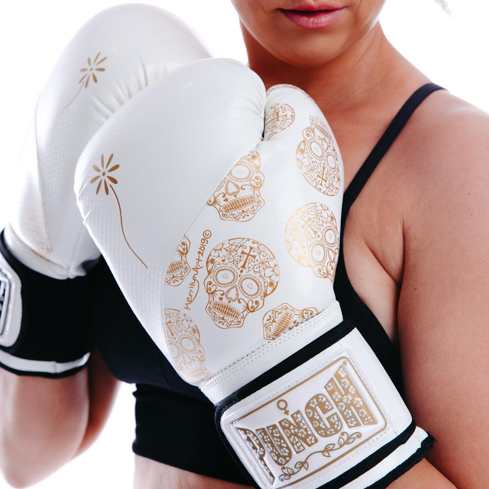 Womens Gloves White Gold Skull