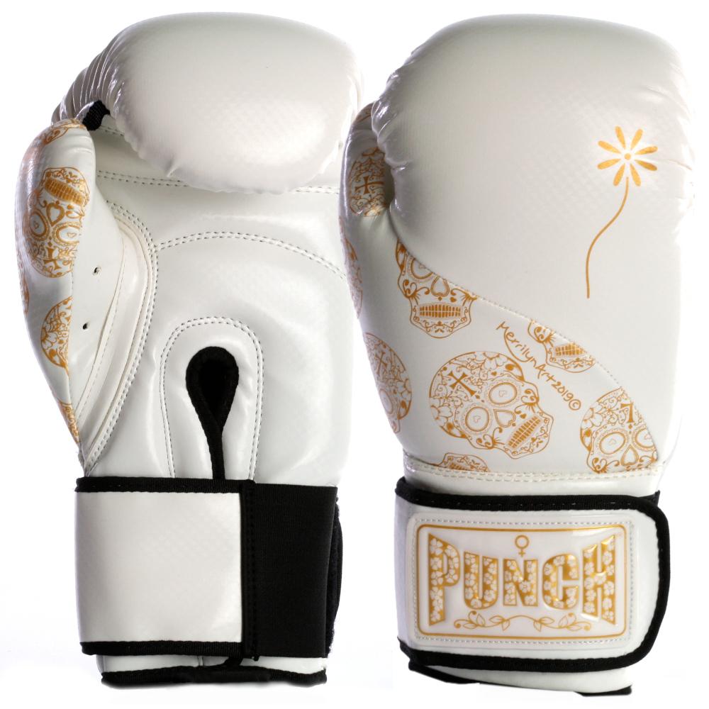 womens boxing gloves white gold skull 1 2021