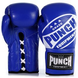 Blue lace up boxing gloves 1 2021
