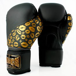 Black Gold Lips Womens Boxing Glove