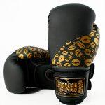 Matte Black Gold Lips Bling Boxing Gloves 7 1