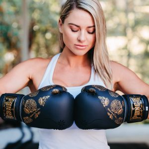 Womens Black Gold Boxing Glove1