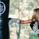 Womens Boxing Gloves Black White Lips