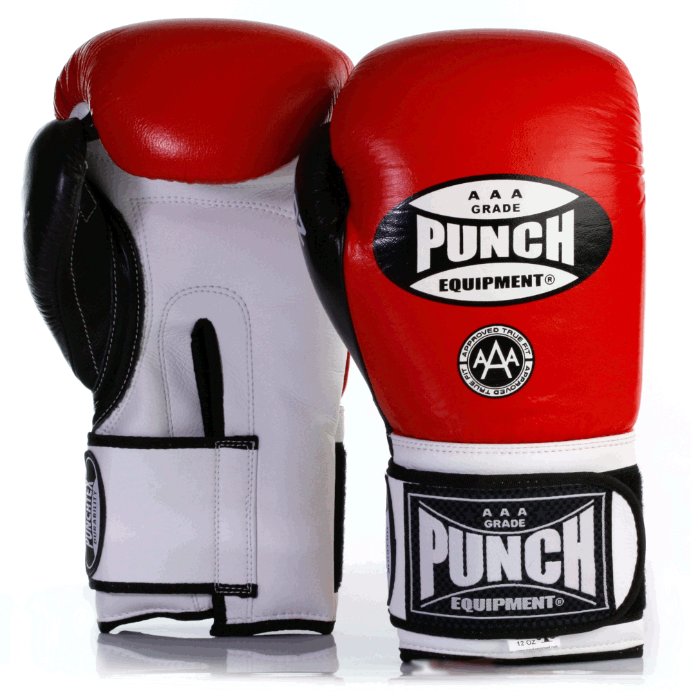 Red and white Trophy Getters Commercial Boxing Gloves