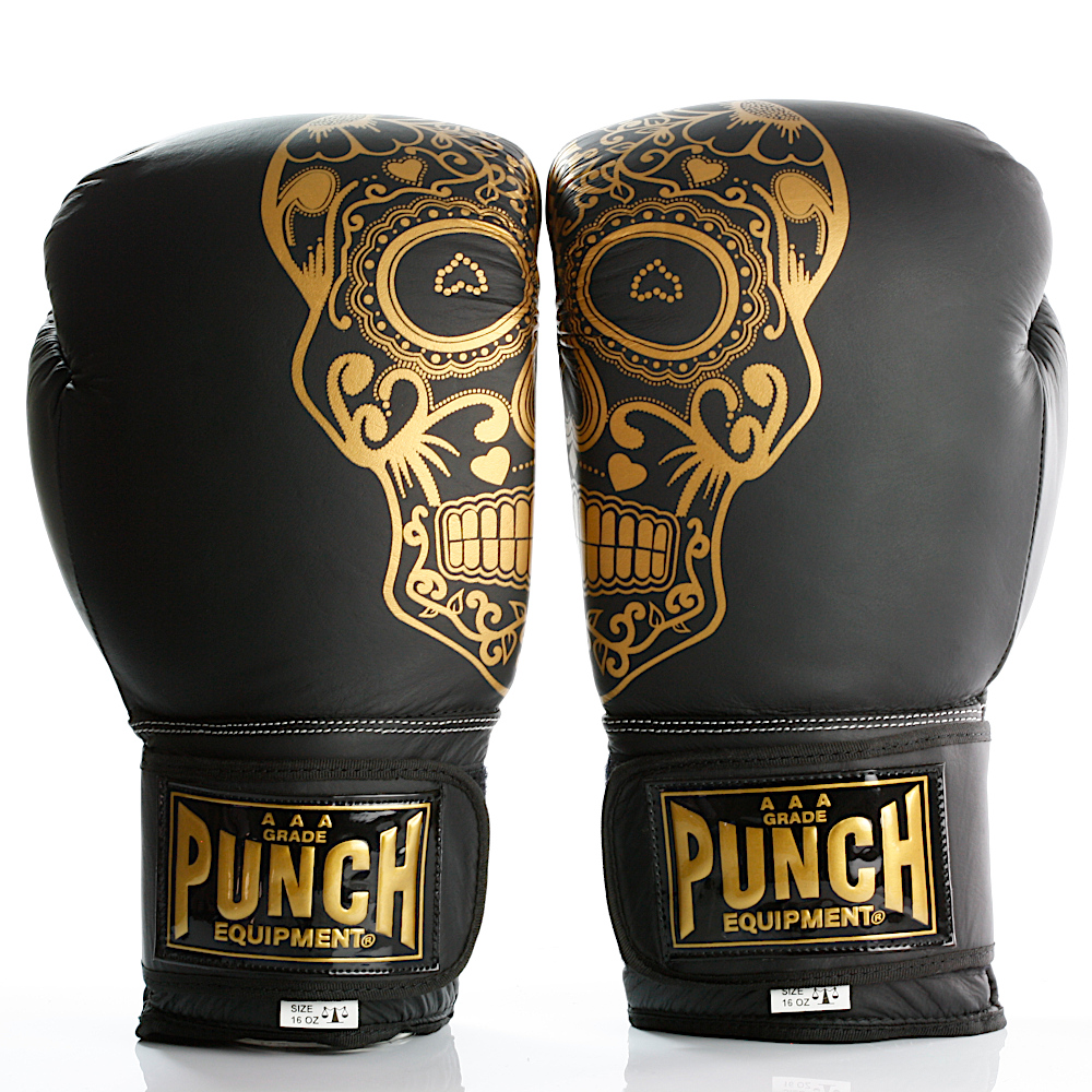 Gold Skull Matte Black Getters Boxing Glove 2020
