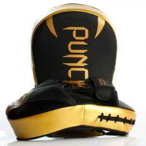 Side and front profile of the gold Urban Cobra Boxing Focus Pads