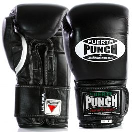 Front and back profile of the black Fuerte Ultra Boxing Gloves