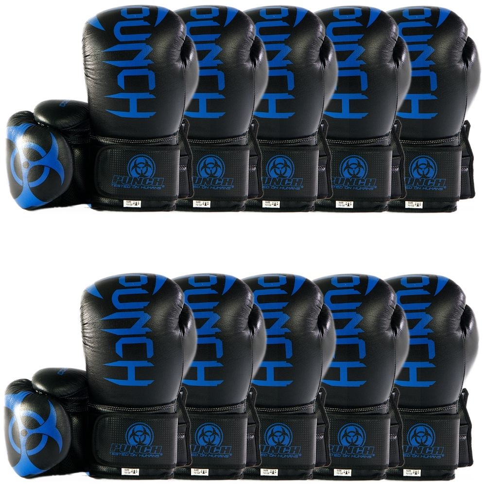 10 pack of Urban Cobra Boxing Gloves in black and blue