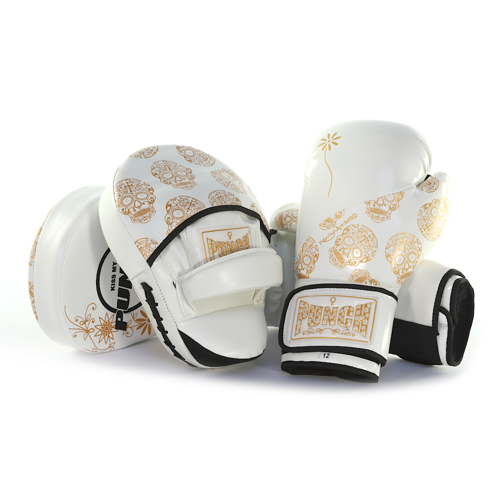 Womens White Gold Skull Art Boxing Gloves And Focus Pads